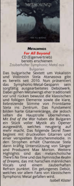 METALWINGS album review in Orkus Magazin June 2018