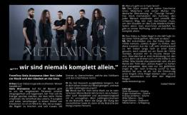 METALWINGS interview in Orkus Magazin June 2018